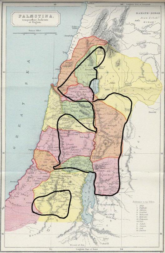 Israel: territory taken in the initial invasion and final allocation of land to the 12 tribes